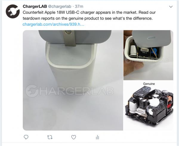 苹果18W USB PD充电器已经被山寨企业盯上