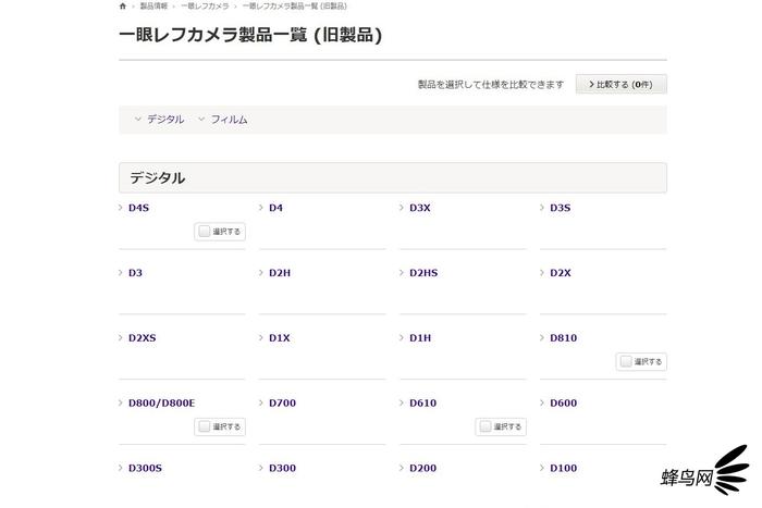尼康日本官网停产产品页面